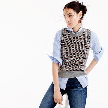 Sweater shell in abstract diamond jacquard