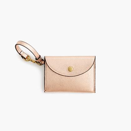 Coin purse in metallic Italian leather
