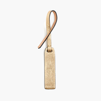 Customizable bag tag in gold Italian leather