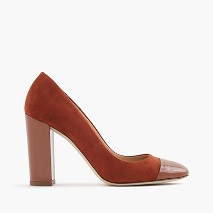 Lena suede pumps with patent cap toe