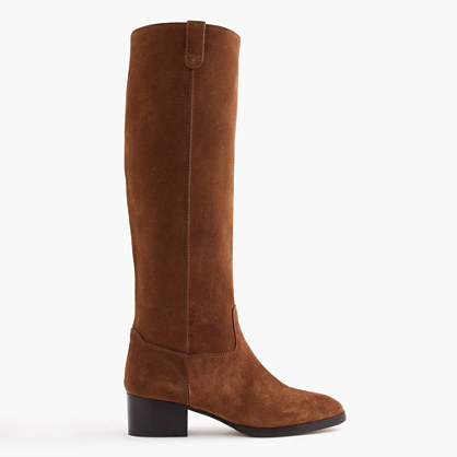 Suede knee boots with tabs