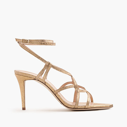 Metallic cross-strap sandals