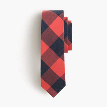 Boys' cotton tie in heather buffalo check