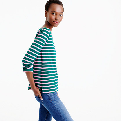 Sailor-stripe boatneck T-shirt
