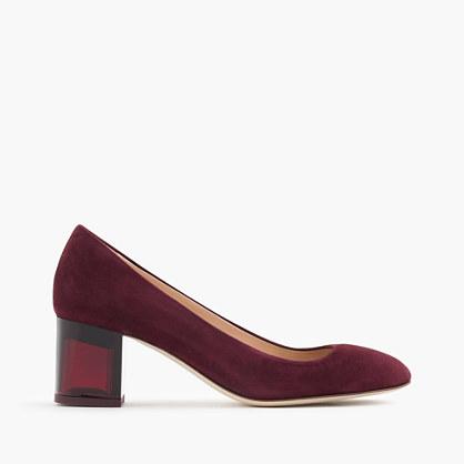 Lucite heels in suede