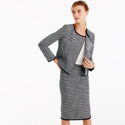 Zip jacket in fringy tweed