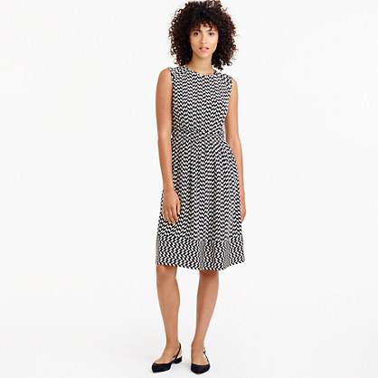 Tall cap-sleeve dress in silk geo print