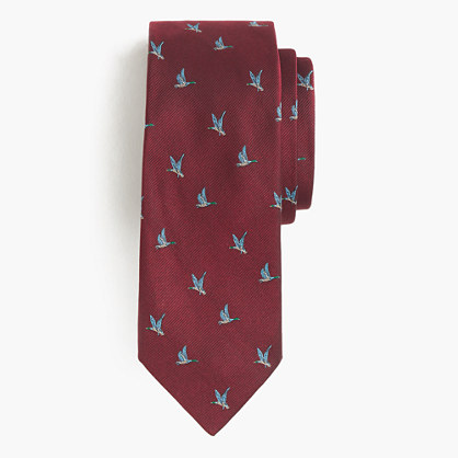 English silk tie with embroidered geese