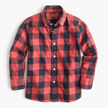 Kids' Secret Wash shirt in heather buffalo check