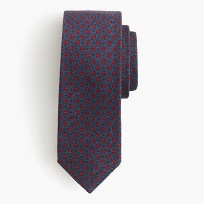 English wool tie in purple foulard