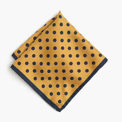 English silk pocket square in polka dot
