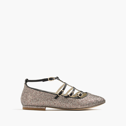 Girls' multistrap ballet flats in glitter