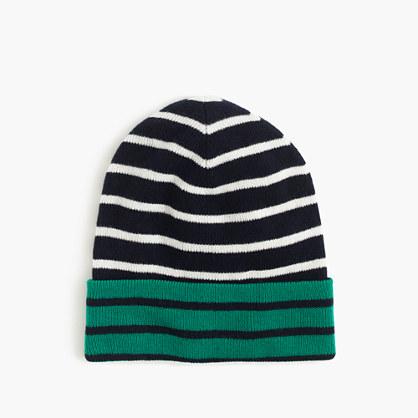 Boys' reversible striped beanie