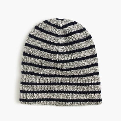 Boys' striped cotton beanie hat
