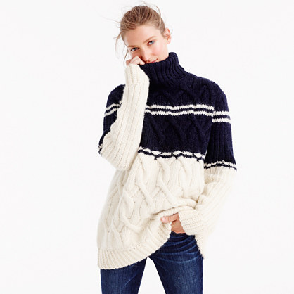 J.Crew for NET-A-PORTER® striped cable turtleneck sweater