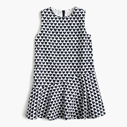 Girls' heart-print ruffle-hem dress