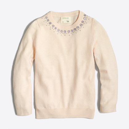 Girls' necklace popover sweater