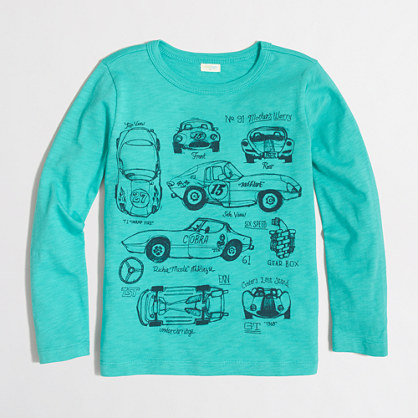 Boys' long-sleeve vintage race cars storybook T-shirt