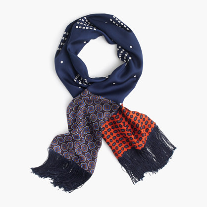 Lightweight silk scarf in printed navy patchwork