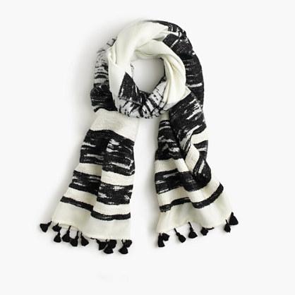 Textured striped scarf