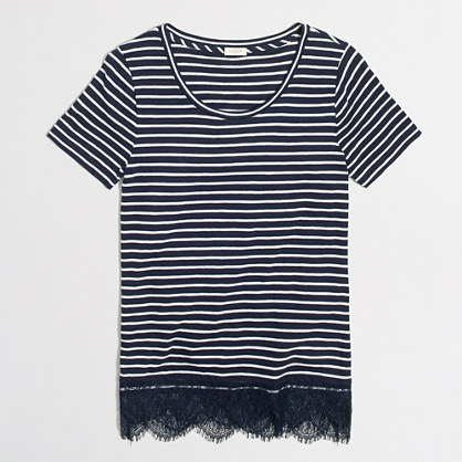 Striped lace-hem T-shirt