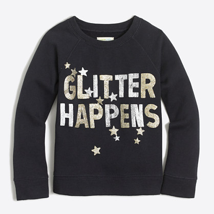 Girls' glitter happens sweatshirt