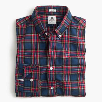 Slim Thomas Mason® for J.Crew flannel shirt in dark royal plaid