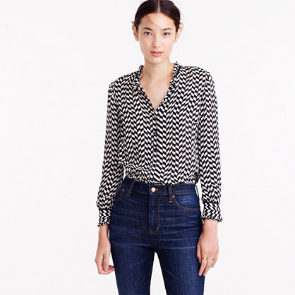Silk button-up in geometric houndstooth