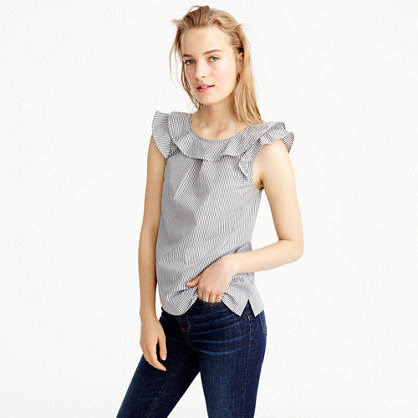 Tall ruffle top in shirting stripes