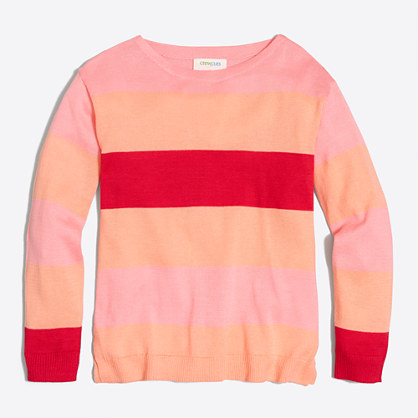 Girls' multistripe popover sweater