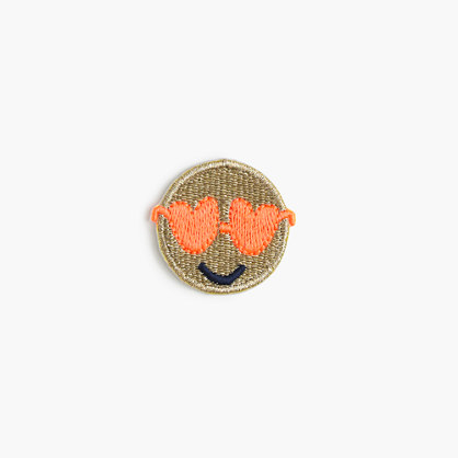 Kids' emoji face iron-on critter patch