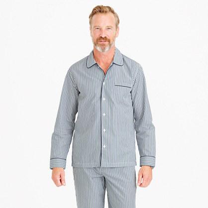 Cotton poplin pajama set in blue and green stripe
