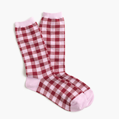 Trouser socks in gingham print