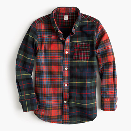 Kids' oxford cotton shirt in mash-up plaid