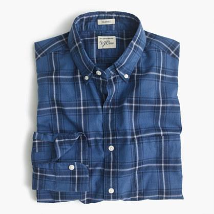 Secret Wash shirt in navy plaid heather poplin