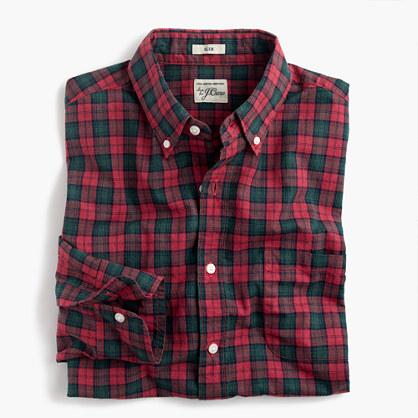 Slim Secret Wash shirt in red-and-green tartan heather poplin