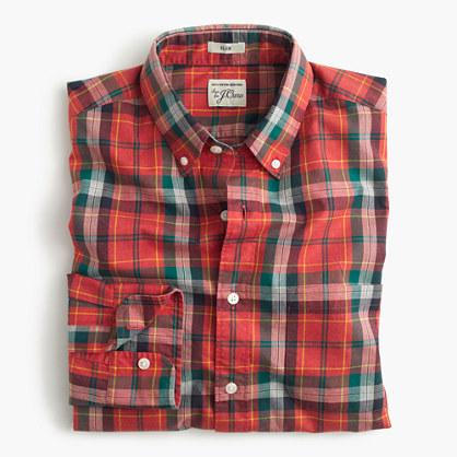 Secret Wash shirt in heather poplin red plaid