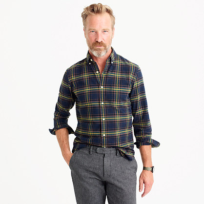 Slim oxford shirt in navy ink plaid