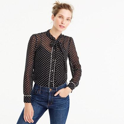 Textured tie-neck top in polka dot