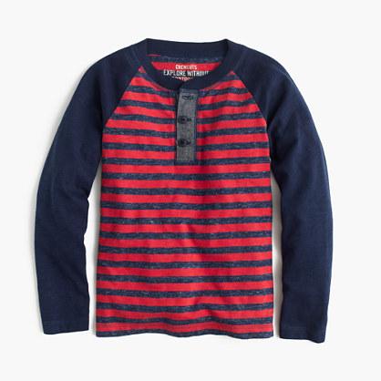 Boys' long-sleeve striped henley T-shirt