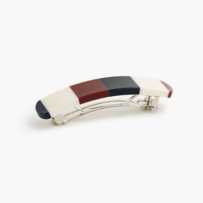Rounded colorblock barrette in Italian acrylic