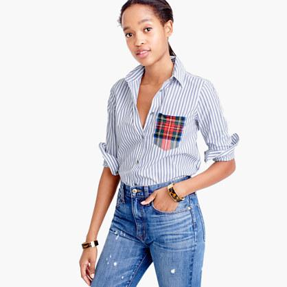 Striped boy shirt with tartan pocket