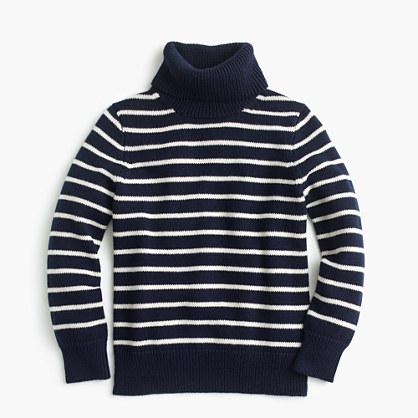 Boys' striped cotton turtleneck sweater