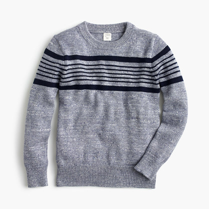Boys' striped cotton crewneck sweater