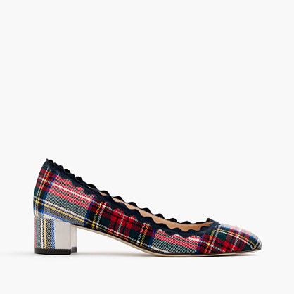 Scalloped heels in festive plaid
