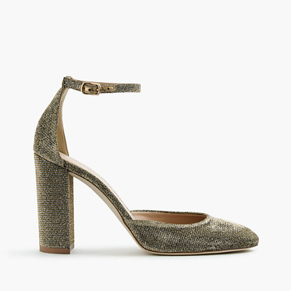 Lena ankle-strap pumps in glitter