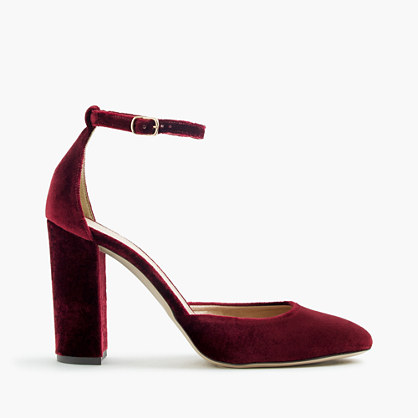 Lena ankle-strap pumps in velvet