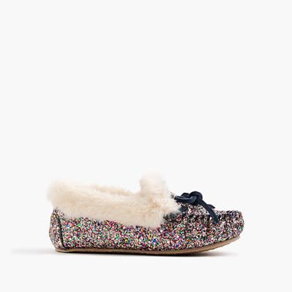 Girls' glitter shearling lodge moccasins