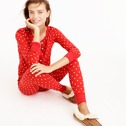 Petite knit pajama set in polka dot
