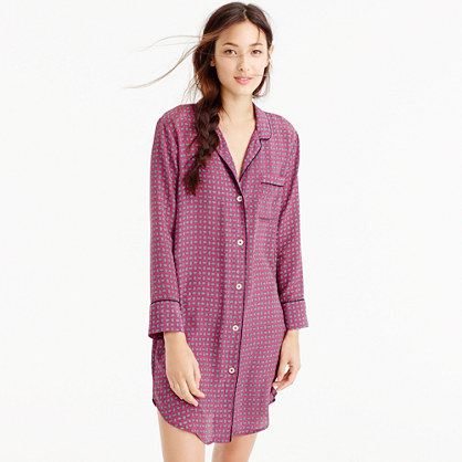 Silk nightshirt in jewel dot print